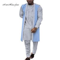 3 stuks Set Mannen Shirts Vest en Broek Broek Set Traditionele Kleding Afrikaanse Print Dashiki Plus Size Afrikaanse Mannen Kleding WYN841