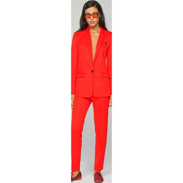 Jacket+Pants Women Business Suits Work Red 2 Piece Female Office Uniform Ladies Formal Trouser Suit Single Breased Custom