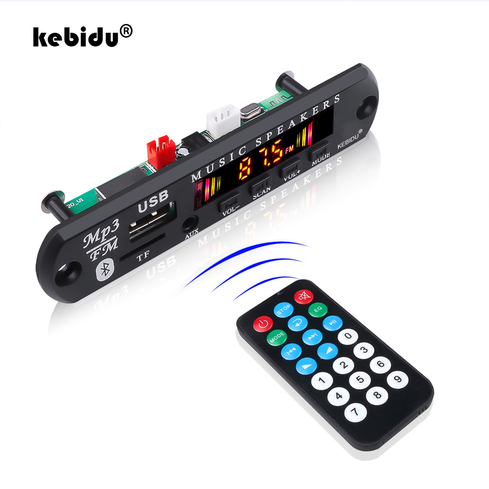 Kebidu Bluetooth 5,0 автомобильный комплект беспроводной MP3 декодер плата аудио 12 В WMA автомобильный музыкальный плеер модуль без потерь аудио USB AUX TF ...