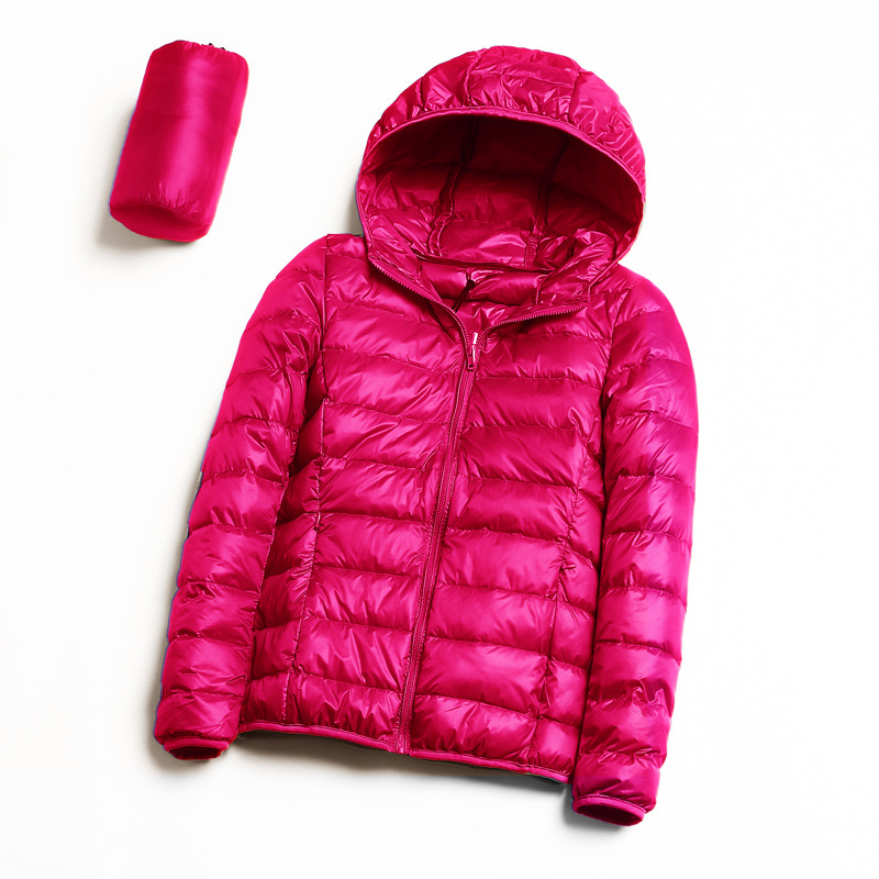 Jacket With Ultralight Hood For Women, Winter, Camping, Hiking, Down, Thin Long-sleeved Jacket With Zipper Over Warm Coat SA-8