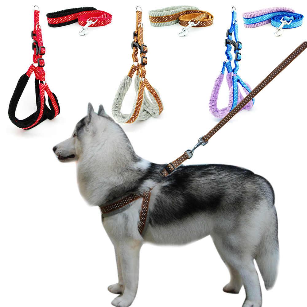 Hund Harness Weste Leine Polka Dot Atmungsaktive Mesh Pet Produts Adjustbale Outdoor Fuß Leine Hund Kragen für Medium Large Hunde