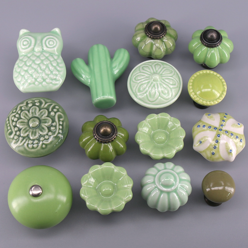 1x Green Color Series Ceramic Knobs  Dresser Drawer Cabinet Handle Pulls / CuteKitchen Cupboard Knob Furniture Hardware