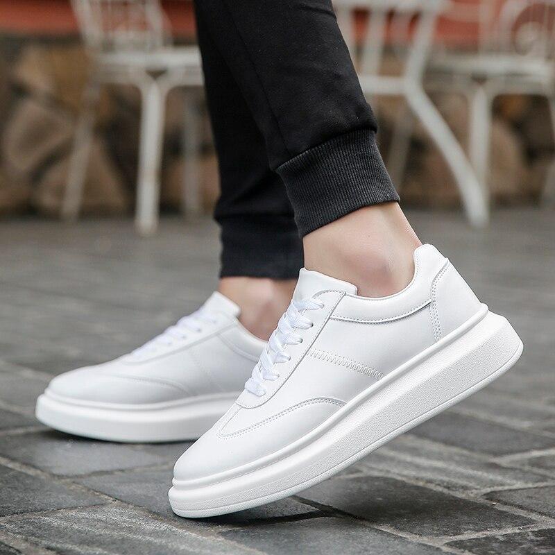 Image 4 - Мужские кроссовки; белая обувь; мужские теннисные кроссовки; мужские зимние кроссовки для отдыха; кожаная обувь на плоской подошве; мужские зимние кроссовки на толстой подошве-in Мужская повседневная обувь from Обувь