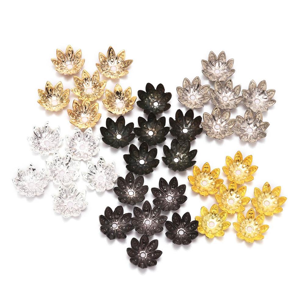 100pcs/Lot 8 10 Mm  Lotus Flower Metal Loose Spacer Bead Caps Cone End Beads Cap Filigree For DIY Jewelry Finding Making