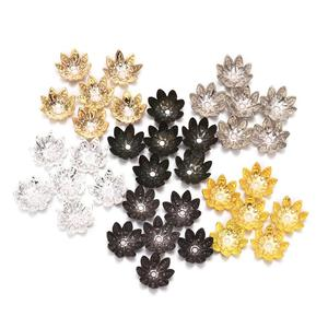 100pcs/Lot 8 10 mm Silver Lotus Flower Metal Loose Spacer Bead Caps Cone End Beads Cap Filigree For DIY Jewelry Finding Making(China)