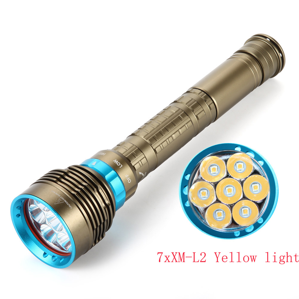 New Waterproof IP8 Warm White Diving Flashlight LED Diving 7 X XM-L L2 7000 Lumens Tactical Yellow / White Light Led Torch
