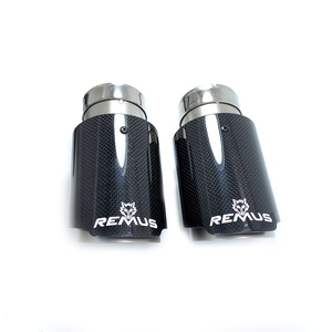 Image 2 - 1PCS Car Exhaust Tail Pipe Glossy Carbon Fiber Sandblasting Stainless Steel Straight Flange Muffler Tip With Remus Logo
