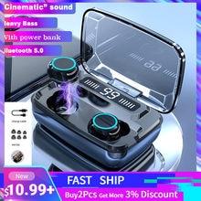 Écouteurs sans fil Bluetooth V5.0 TWS, casque avec affichage LED, batterie portable de 3300 mAh, microphone