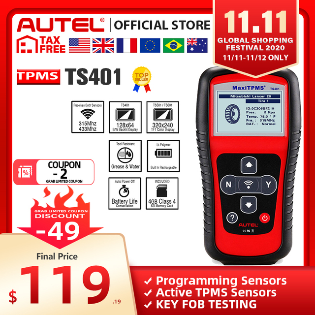 AUTEL MaxiTPMS TS401 TPMS Tool Tyre Pressure Sensor Activator Programmer Receive both 315MHz and 433MHz signals