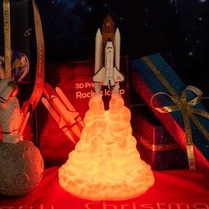 Image 5 - 2019 新ドロップシップ 3D プリントスペースシャトルランプ夜の光スペースのファンムーンランプロケットランプ部屋の装飾として