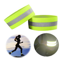 2 Pcs Reflective Arm Strap Yellow Fluorescent Wristband Reflective Belt High Visibility Safety Wear for Outdoor Protection