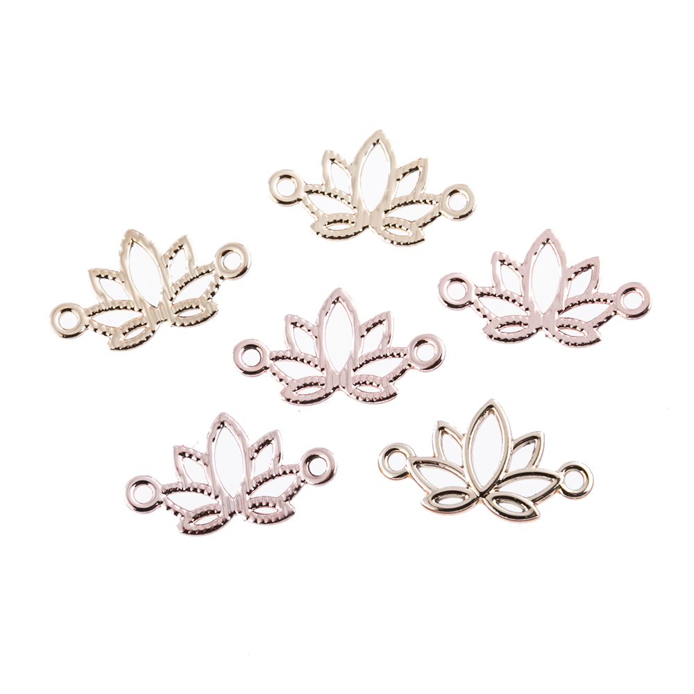 10pcs/lot Charms Flower Lotus Connection Charm Tibetan Pendants Antique Jewelry Making DIY Handmade Craft For Necklace