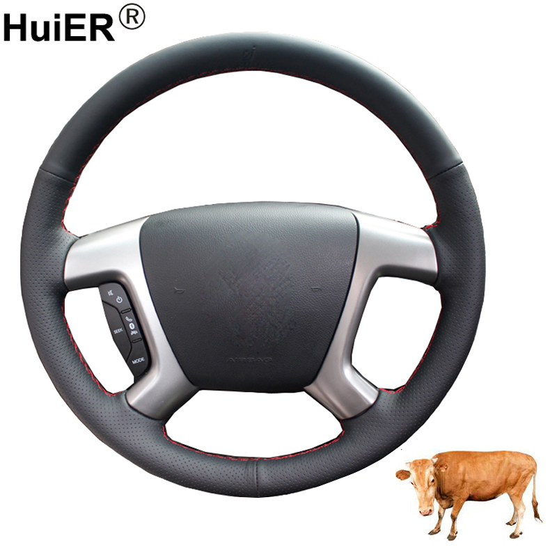 Hand Sewing Car Steering Wheel Cover Top Cow Leather Volant For Chevrolet Captiva 2007 2008 -2014 Silverado GMC Sierra 2007-2013