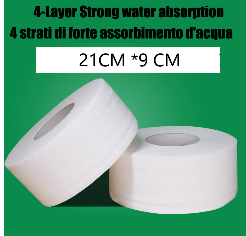 4-Layer Native Wood Top Quality Jumbo Roll Toilet Paper Soft Toilet Paper Pulp Home Rolling Paper Strong Water Absorption 1 Roll