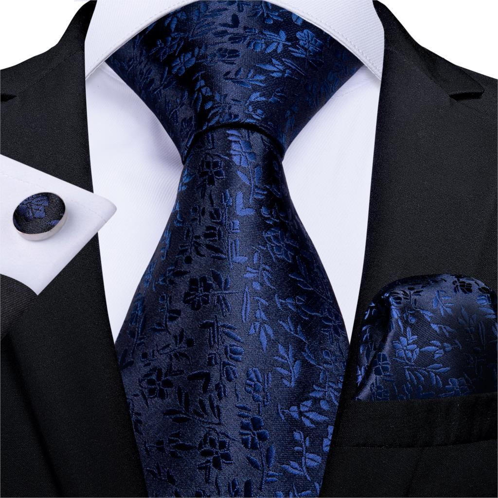 Gift Men Tie Purple Black Solid Floral Silk Wedding Tie For Men DiBanGu New Designer Hanky Cufflink Business Men Tie Set MJ-7272