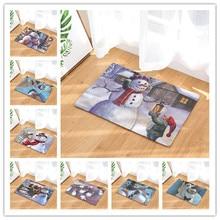 цена на Anti-Slip Bath Mat Flannel Snowman Printed Doormat Absorb Water Floor Mat Carpet Christmas decor Kitchen Bathroom Rug Tatami