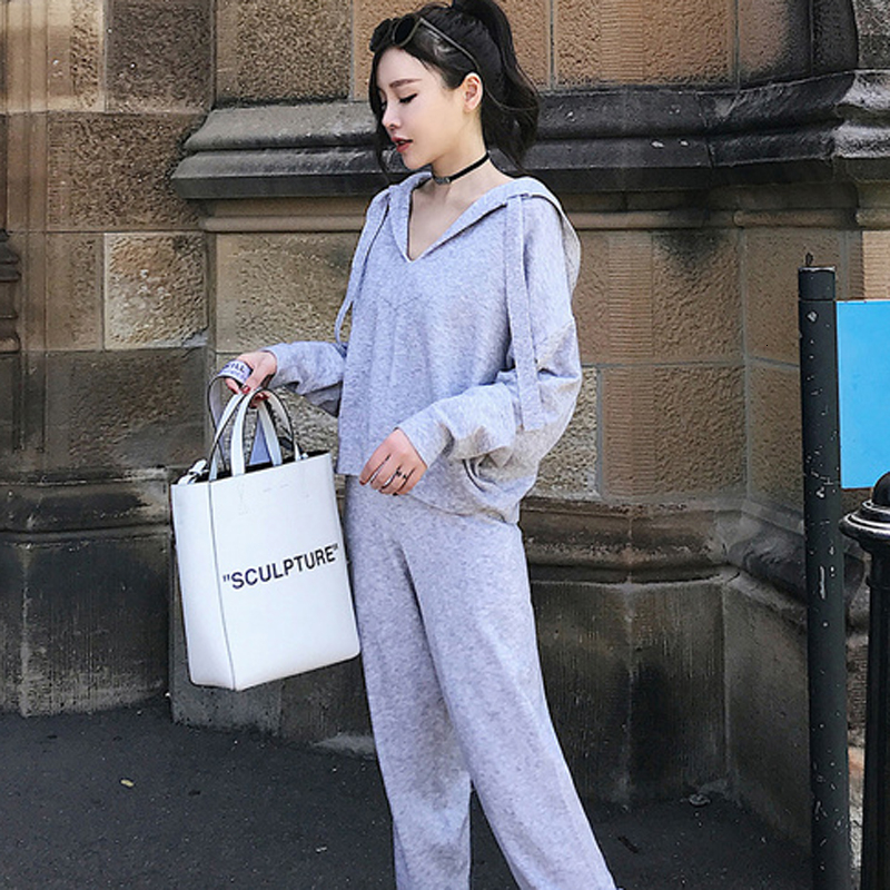 Long Sleeve Tracksuit 2 Piece Set Women Outfits Suits Knit Hooded Top And Pants Suits 2piece Winter Autumn Sportwear Clothing