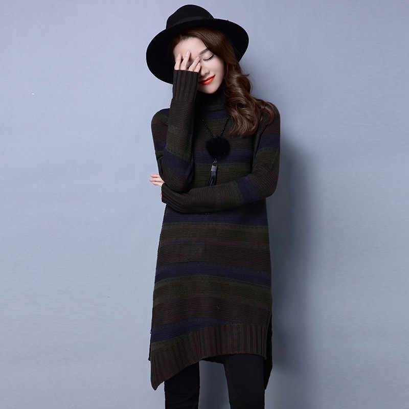 2020 가을 겨울 패션 뜨개질 스웨터 드레스 여성 터틀넥 스트라이프 풀 오버 캐주얼 여성 양모 스웨터 WXF602