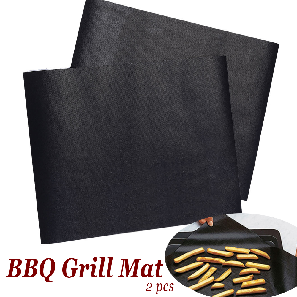 2pcs BBQ Grill Mat 30cm BBQ Steel Skewer Fork Barbecue Tool Set Outdoor Cooking Kebab Meat Stick Grill Roaster Pad