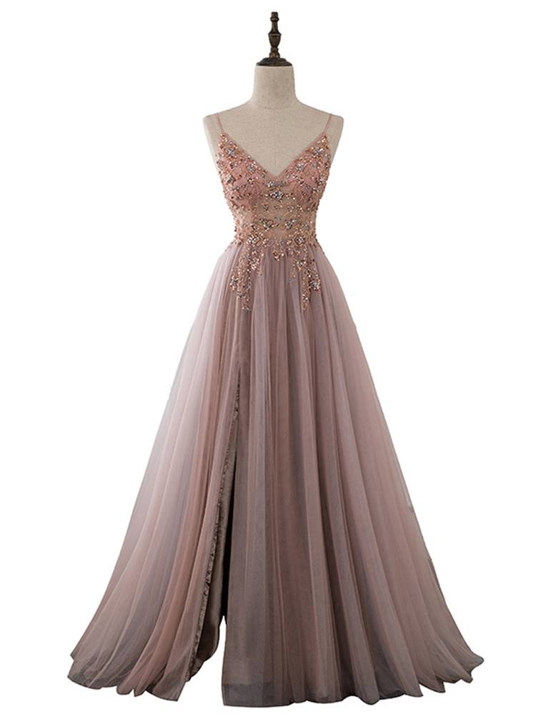 YQLNNE Prom-Dresses Evening-Gown Tulle Long-Straps See-Through Sweet Spaghetti Pink Right