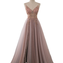 Prom-Dresses Evening-Gown Slit Crystal Dusty Tulle Pink Long-Straps See-Through Sweet