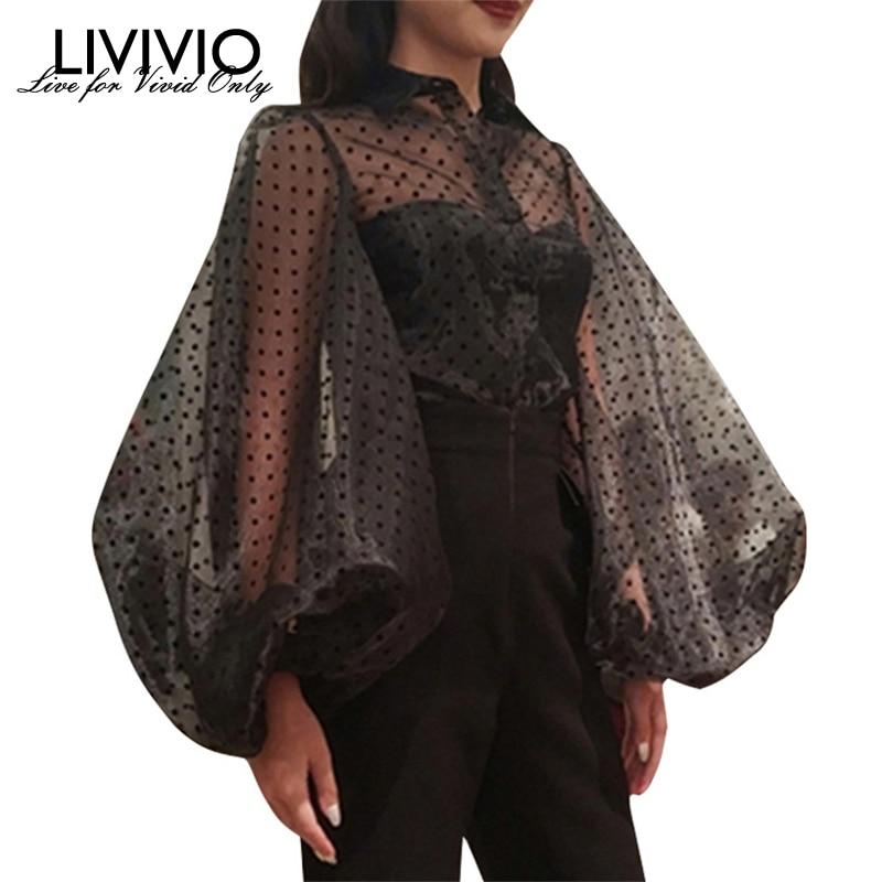 [LIVIVIO] Vintage Polka Dot Long Puff Sleeve Womens Tops And Blouses Plus Size Sheer Shirts 2019 Summer Clothes Ladies Korean