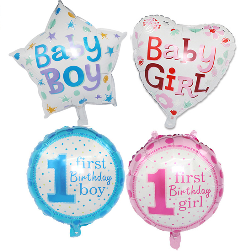 18 Inch Baby 1-year-old Heart-shaped Pentagram Boy Or Girl Aluminum Film Balloon Birthday Party Layout Balloon