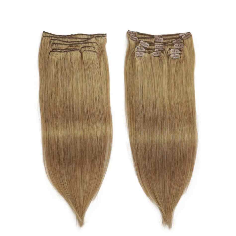 Isheeny Remy clip hair extension 8pcs/set Seamless Natural Human Hair Clip Extensions Full Head Brazilian Pure Color Clip Ins