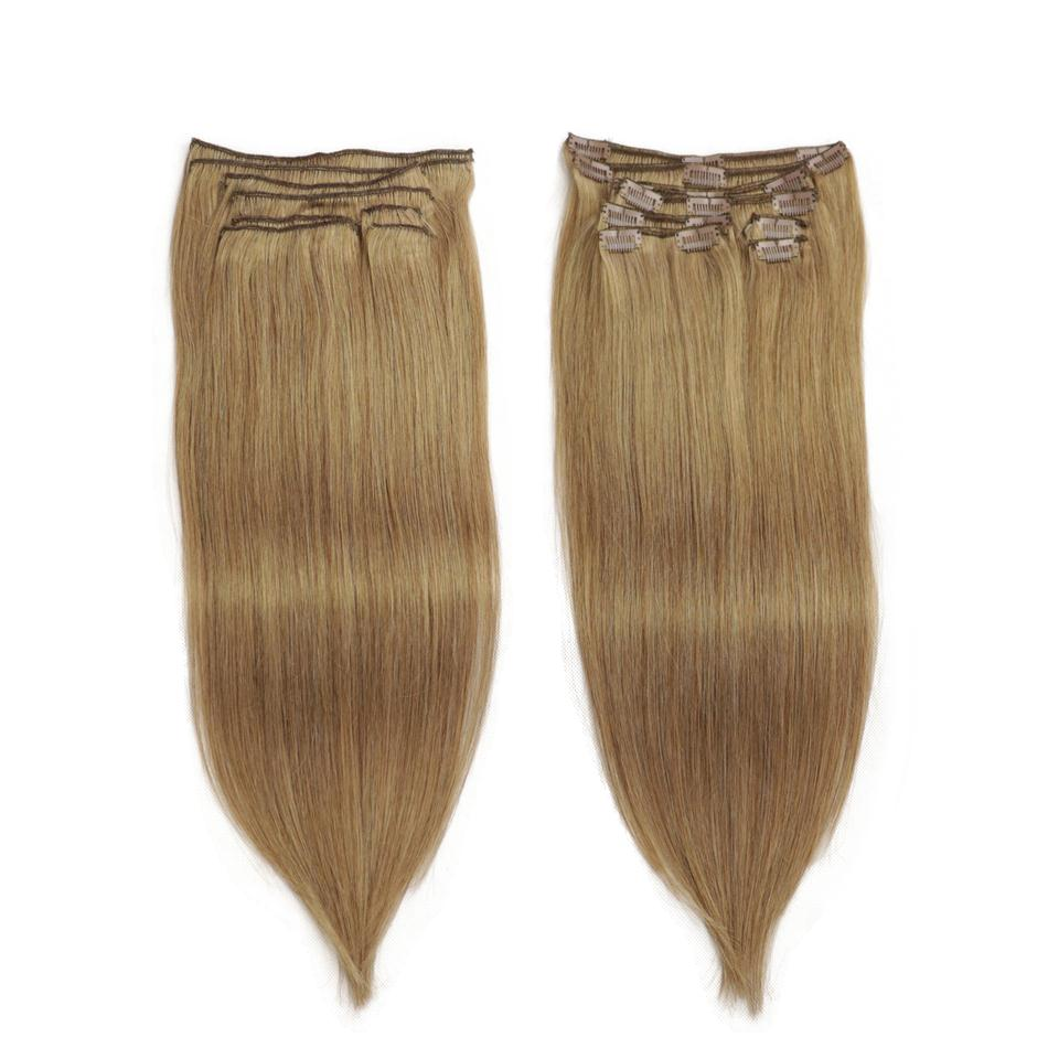 Isheeny Hair-Extension Remy-Clip Human-Hair Natural Full-Head Brazilian Seamless 8pcs/Set title=