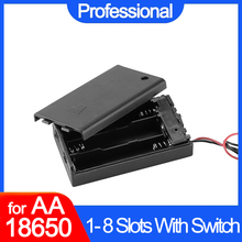 AA 18650 حافظة بطاريات سوداء عالية الجودة لتقوم بها بنفسك صندوق بطارية 1 2 3 4 فتحات حاوية بطاريات مع مفتاح تشغيل/إيقاف مع كابل