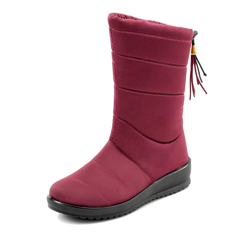 נשים מגפי 2019 אישה חם פרווה חורף נעלי נשים חורף מגפיים עמיד למים חם אמצע עגל שלג מגפי Botas Mujer נעלי נקבה