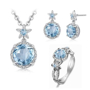 Szjinao Real 925 Sterling Silver Handmade Fine Jewelry Aquamarine Ring Earring Pendant Necklace Flower Jewelry Set for Women New szjinao silver pendant for women real 925 sterling silver amethyst pendants necklace statement womens jewelry crystal gemstone