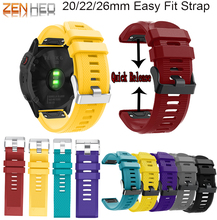 26 22 20mm Watchband for Garmin Fenix 5X 6X 5 6 5S 6S 3 HR Forerunner 945/935 Quick Release Strap Silicone Easy fit Wrist Band