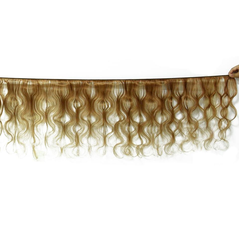HairUGo ブラジル毛織りでバンドル閉鎖 #27 ハニーブロンドオンブル人間の髪のバンドル閉鎖非の Remy 毛  グループ上の ヘアエクステンション & ウィッグ からの 3/4 バンドル留め具付き の中 2