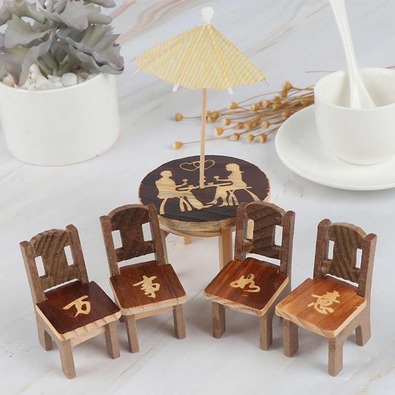 1 комплект мебели игрушка детский подарок стол стул миниатюрный Ремесло Деревянный кукольный домик Миниатюрный пейзаж Столовая Кухня Декор