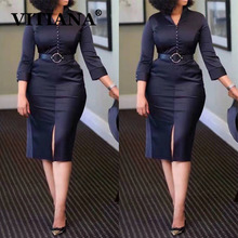 VITIANA נשים שחור אלגנטי פורמליות עיפרון שמלת סתיו 2020 נקבה Slim משרד OL באורך הברך שמלות Femme מקרית Vestidos