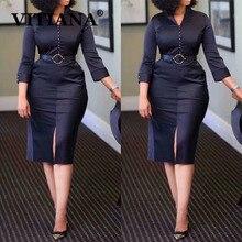 VITIANA Frauen Schwarz Elegante Formale Bleistift Kleid Herbst 2020 Weibliche Dünne Büro OL Knie Länge Kleider Femme Casual Vestidos