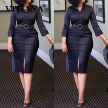 VITIANA Nữ Đen Thanh Lịch Chính Thức Đầm Bút Chì Mùa Thu 2020 Nữ Trơn Công Sở OL Tới Đầu Gối Áo Femme Thường Ngày Vestidos