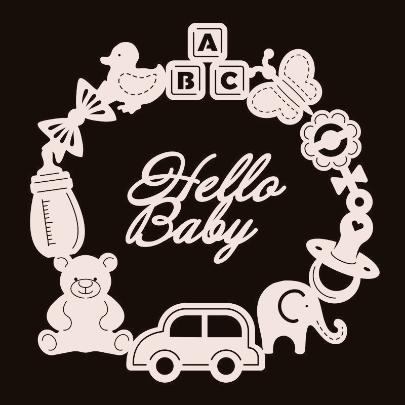 DiyArts Hello Baby Metal Cutting Dies Car Toys Elephant Circle For Card Making Scrapbooking Embossing Cuts Stencil Craft Dies