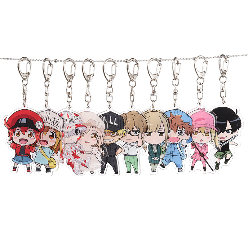 Cells At Work Anime Cosplay Acrylic Keychain Red Blood Cell Platelet Fashion Cute Funny Novelty Pendant Porte Clefs Llavero Gift