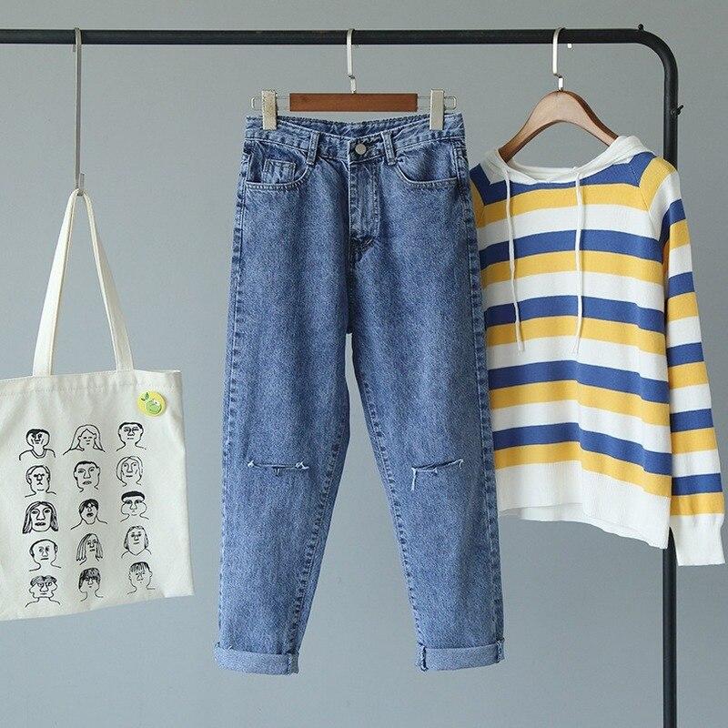 Simple Jeans Woman Fashion Mom Jeans Korean Version Of Loose High Waist Jeans Cut High Waist Boyfriend Jeans For Women