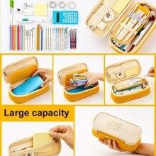 Kawaii Pencil Case Macaron Color Canvas Double Layer Na01