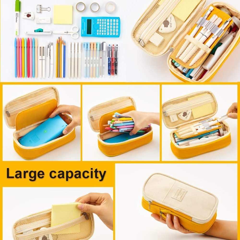 Kawaii piórnik Macaron kolor płótno Stretch podwójna warstwa duża pojemność piórnik śliczne piórnik dzieci szkoła papiernicze