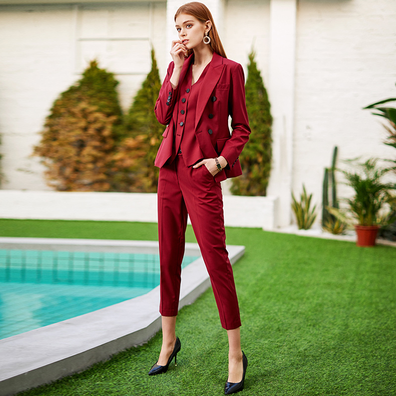 Women S Office Suits Set Professional Female Business Lady Suit Plus Size Wine Blazer Pant  Designer Tailor Made 2019 Free Ship