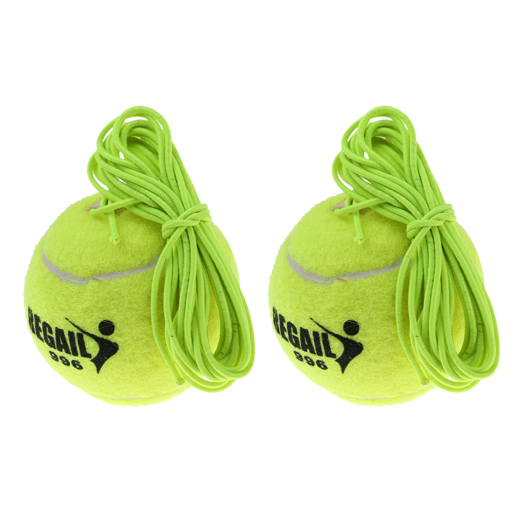 2pcs Durable Tennis Ball With Elastic Cord Bungee For Tennis Trainer Gear