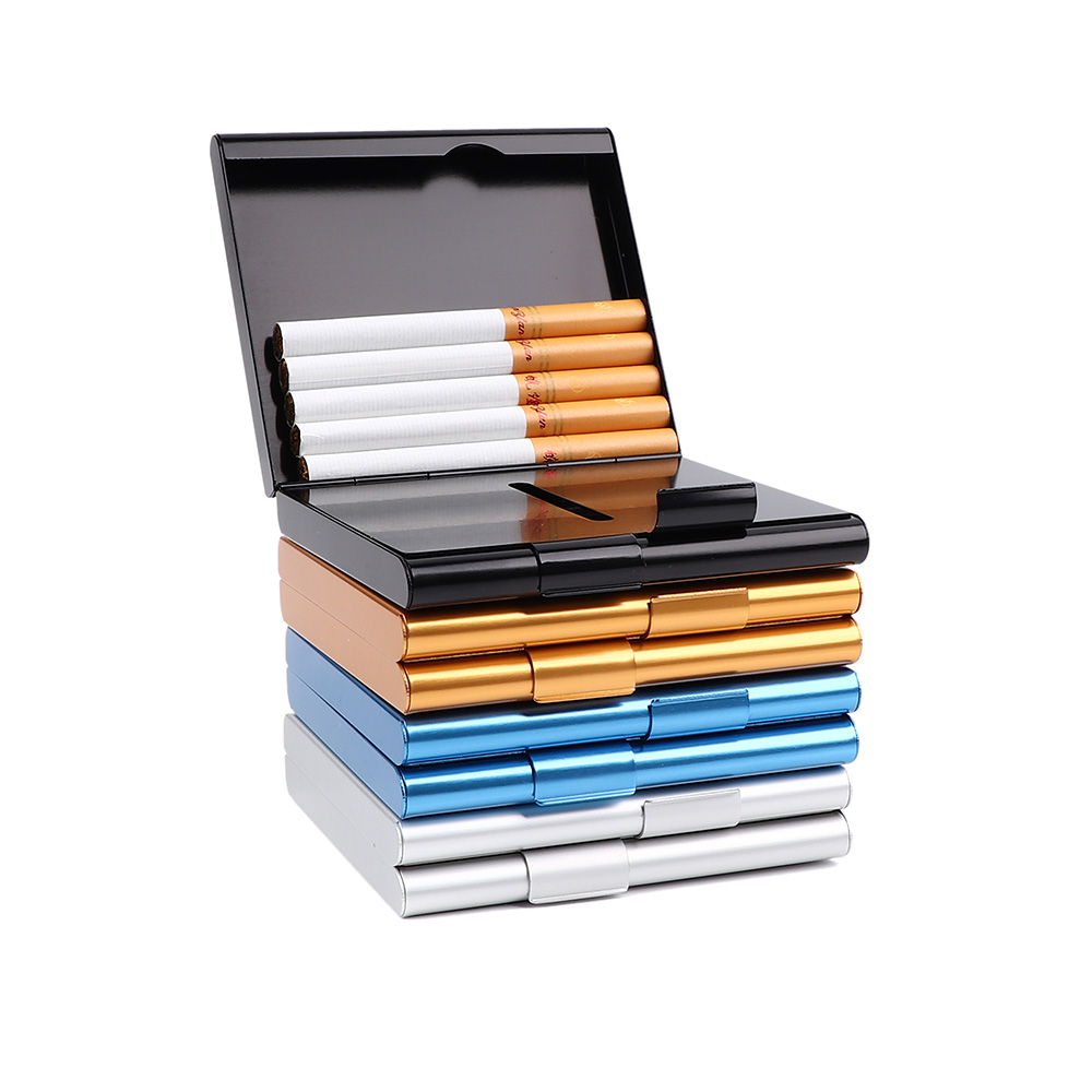 Aluminum Thin Cigarette Case Holder Double Sided Flip Open Pocket Box For Cigarettes Storage Container Smoking Accessories