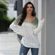 Женский трикотажный свитер с v образным вырезом Свободный пуловер