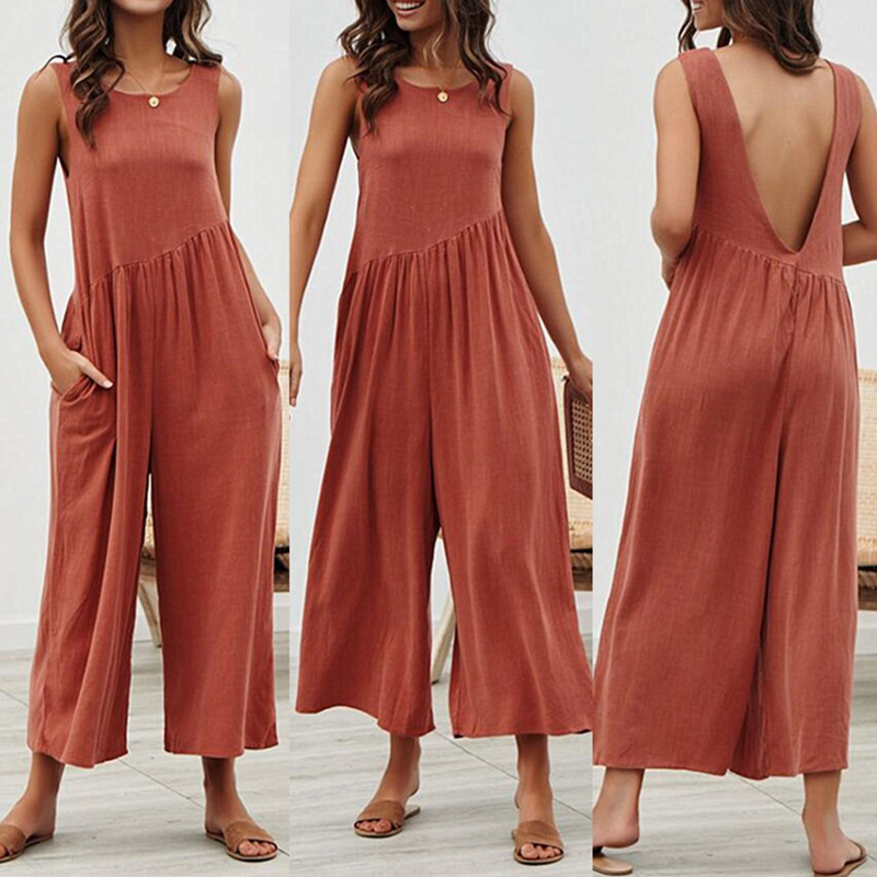 Loose Summer Jumpsuit Women Sleeveless Casual Romper Jumpsuits Backless Jump Suit Black Beach Overalls Female Clothes Ropa Mujer