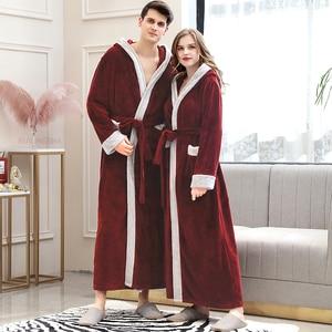 Image 4 - Frauen Winter Super Lange Warme Flanell Bademantel Plus Größe Liebhaber Pelz Rosa Bad Robe Braut Weiche Nacht Dressing Kleid Männer nachtwäsche