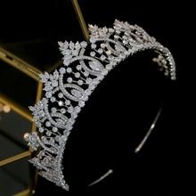 Vintage Baroque คริสตัลงานแต่งงาน tiara อุปกรณ์เสริมผมคุณภาพสูงเจ้าสาว Zirconia Crown ชุดการจับคู่อุปกรณ์เสริม